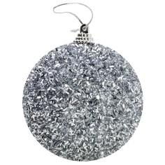 Pallina argento con pagliuzze e glitter 8 cm Mondo Presepi