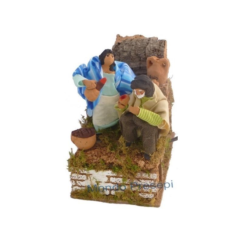 Mondo Presepi Osteria con statue in terracotta in movimento