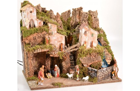 Nativity scene complete with Landi statues with lights and working waterfall