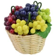Cestino in vimini con uva assortita ø 2,8x3 h cm Mondo Presepi