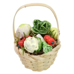 Wicker basket with assorted vegetables ø 3.6x5.5 h cm