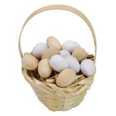 Wicker basket with assorted eggs ø 3,6x5,5 h cm