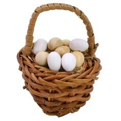 Dark wicker basket with assorted eggs ø 4,4x5,2 h cm