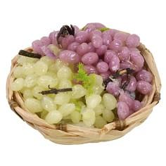 Cesto di vimini con uva assortita in cera ø 4,5-5x2 h cm Mondo