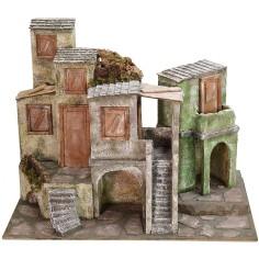 Borgo con case e botteghe cm 50x30x38,5 h Mondo Presepi