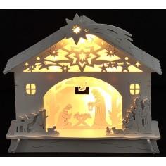 Capanna in legno illuminata con Natività e personaggi