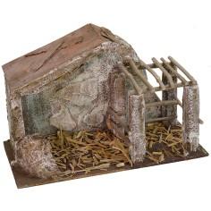 Capanna con recinto cm 29,2x14,4x18,8 h per Natività da 8 cm