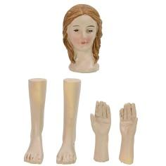 Testa, mani, piedi donna per statue cm 12-15 h Mondo Presepi