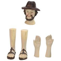 Testa, mani, piedi uomo con cappello per statue cm 12-15 h