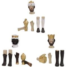 Testa, mani, piedi Tre Re Magi statue cm 12-15 h Mondo Presepi