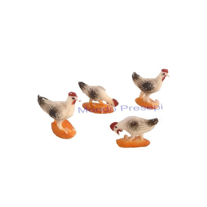 Set of 4 hens for statues cm 6 - 31529