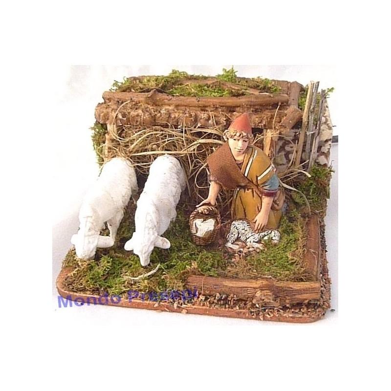 Mondo Presepi Pastore cm 10 con 2 pecore in movimento - 3