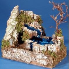 Mondo Presepi Cascata nel lago con acqua in movimento