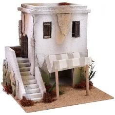 Casa araba con bottega e scalinata cm 28x28x28 h Mondo Presepi