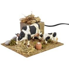 Mucca e vitello in movimento cm 15x15,5x10 h
