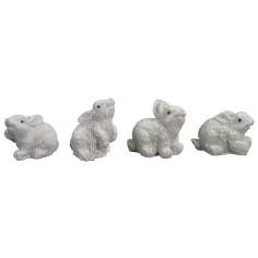 Set 4 conigli bianchi in resina cm 2-2,5