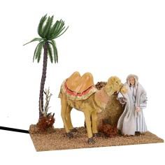 Arab shepherd with double movement camel 12 cm