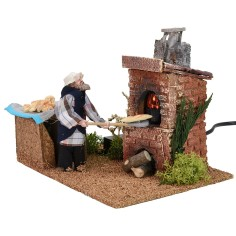 Baked baker in motion 12 cm with working fire