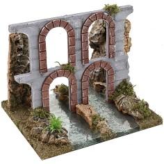 Fiume componibile effetto profondità con rovine di acquedotto