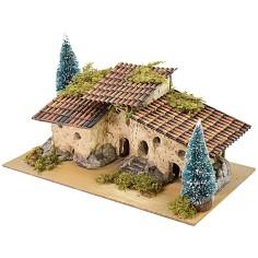 Borgo di case ricavate nella pietra con pini cm 29,7x16,5x16 h