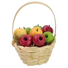 Wicker basket with assorted apples ø 3.6x5.5 h cm