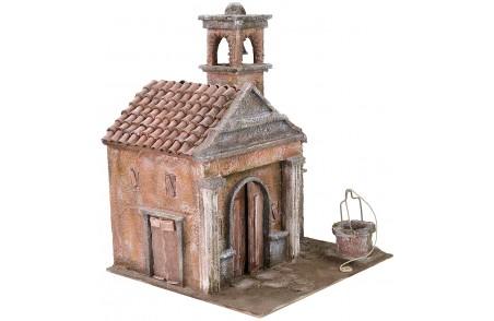 Chiesa con pozzo e campanile cm 29x29x37 h per statue da cm 10