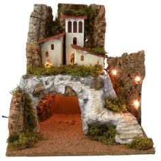Paesaggio illuminato con grotta e scalinata cm 45x40x44 h Mondo