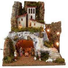 Presepe classico illuminato con grotta e scalinata cm 45x40x44