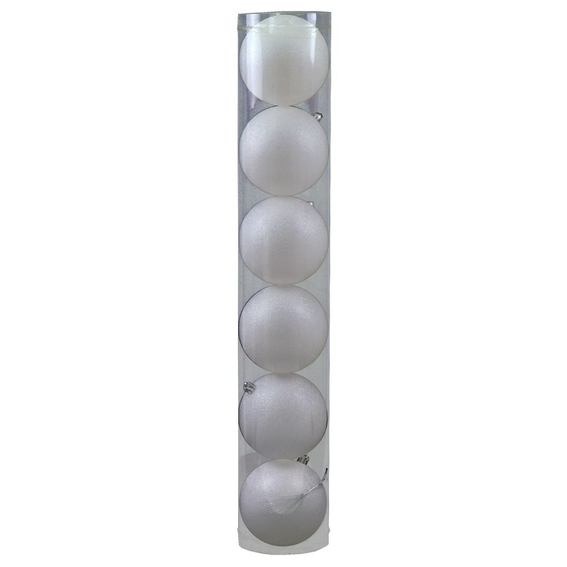 Set 6 palline bianche brillantate ø 10 cm per albero di Natale