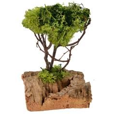 Albero verde con base rocciosa cm 11x11x18 h