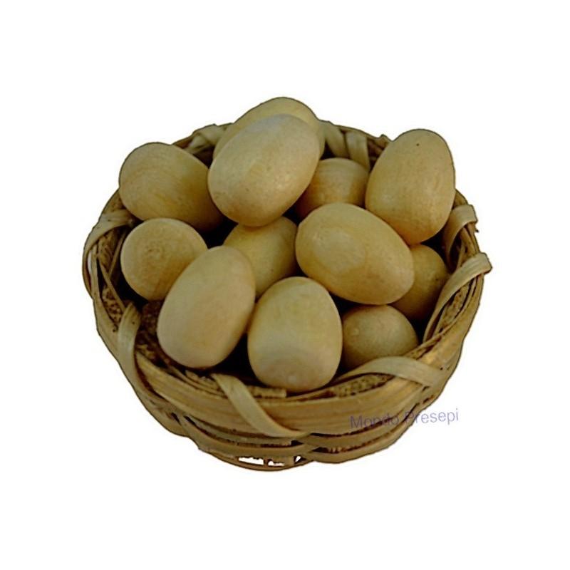 Mondo Presepi Cesto in vimini con uova ø 3 cm -minuterie presepe