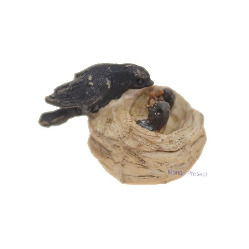 Rondine e uccellini nel nido 1,5 cm Mondo Presepi