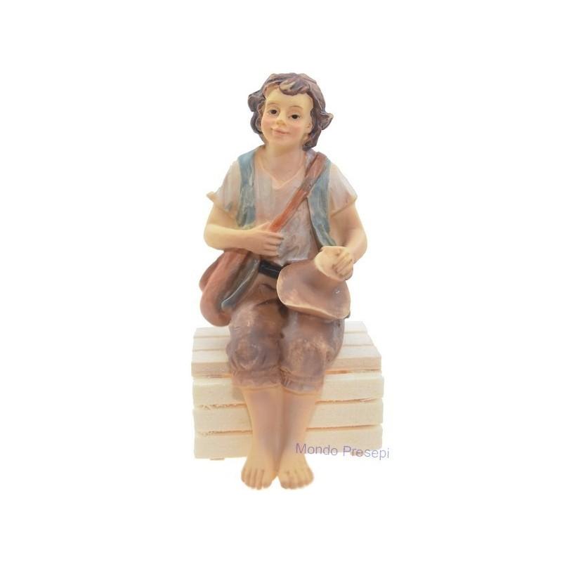 Sitting boy in resin series 10 cm