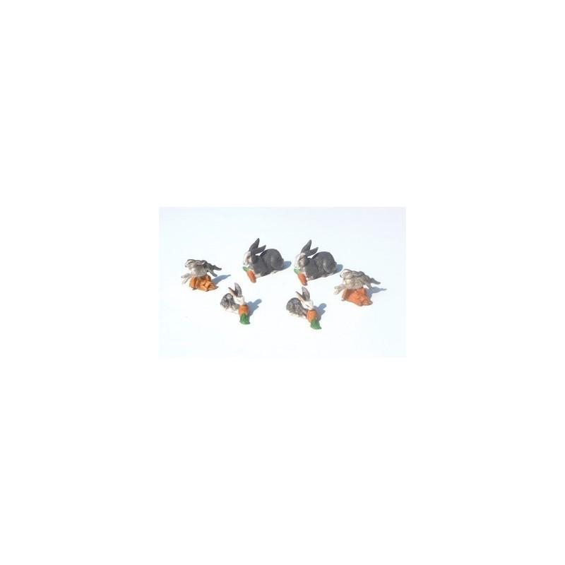 Mondo Presepi Busta 6 conigli in pvc patinati - Cod. ZAC01