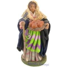 Donna con cesto di pane Lux cm 12 - 41241