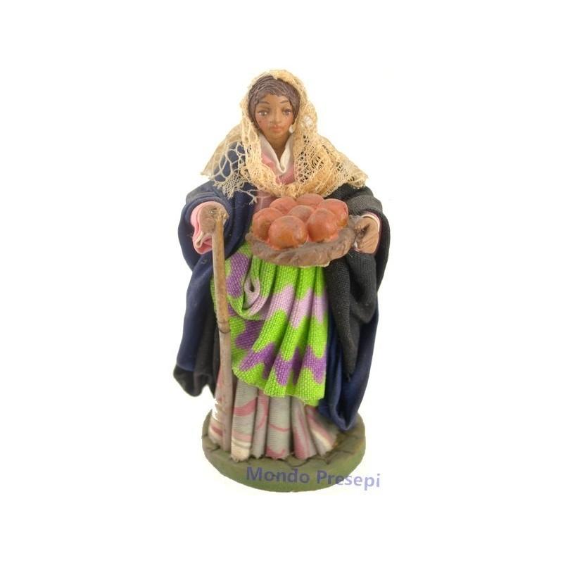 Mondo Presepi Donna con cesto dI arance Lux cm 12