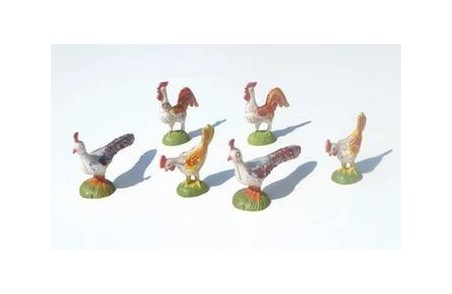 Bag of 6 fowl in patinated pvc - Cod. ZAC02