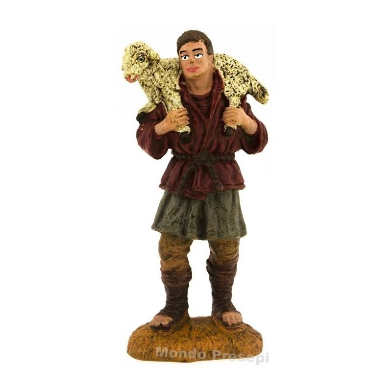 Mondo Presepi Pastore con agnello a spalle serie cm 10 Oliver