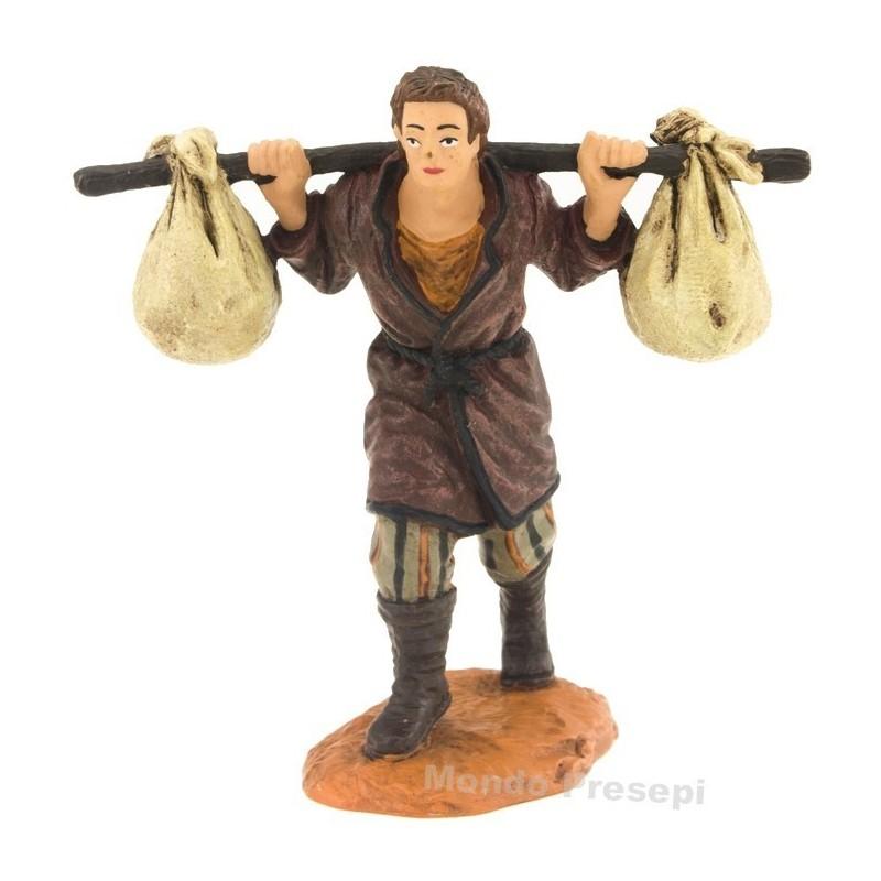 Mondo Presepi Uomo con sacchi a spalle serie cm 10 Oliver