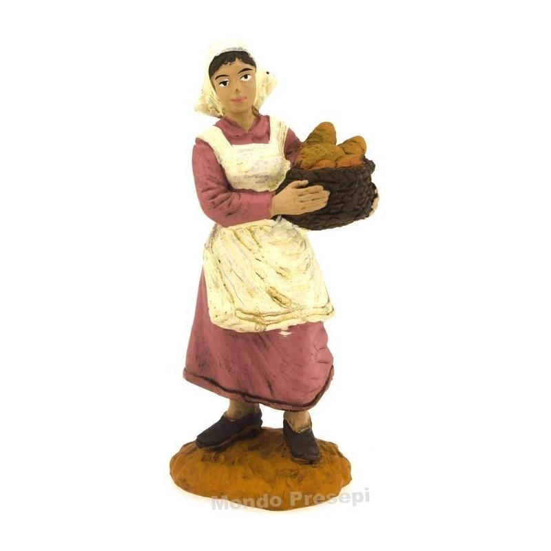 Mondo Presepi Donna con cesto di pane serie cm 8 Oliver