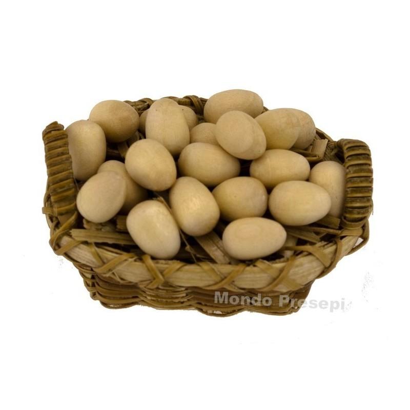 Mondo Presepi Cesto con uova cm 4,5