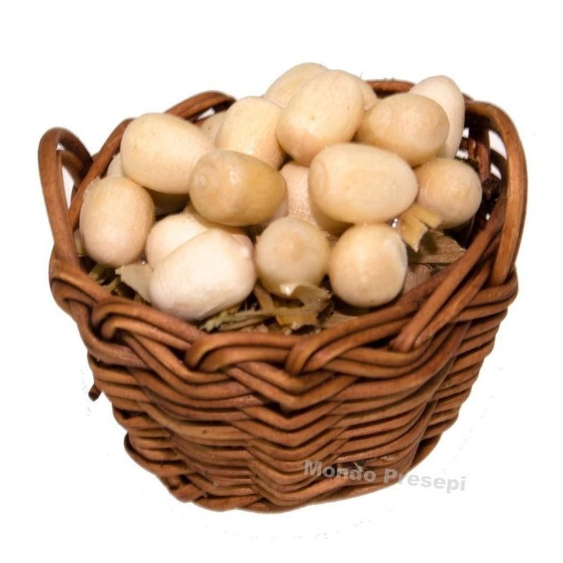 Cesto con uova cm 3,5
