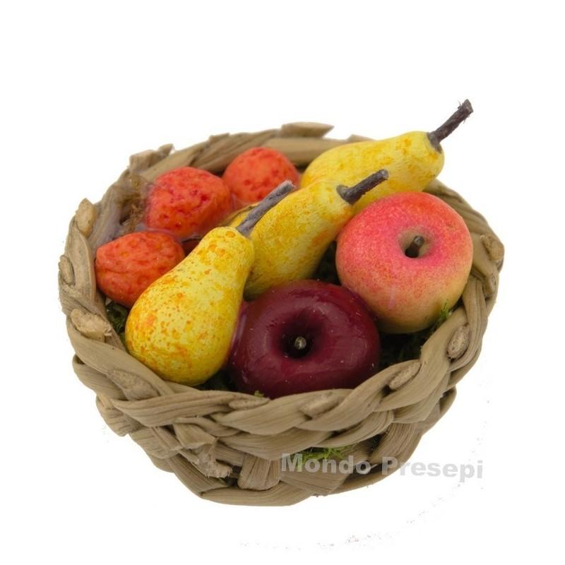 Cesto in vimini ø 2,5 cm con frutta -Miniature presepe Mondo