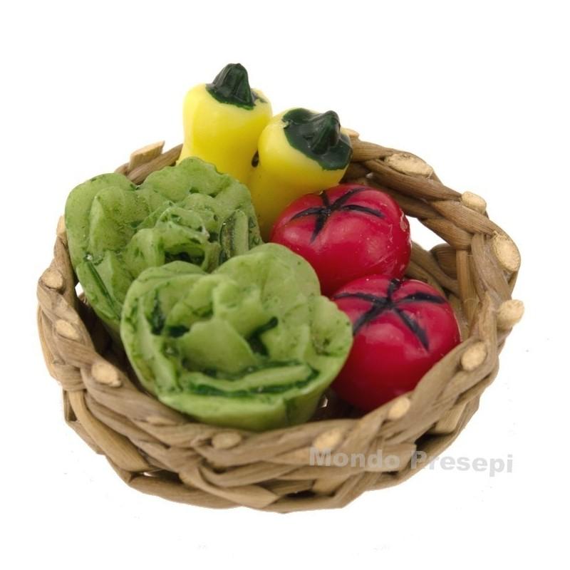Mondo Presepi Cesto in vimini ø 3 cm con verdure