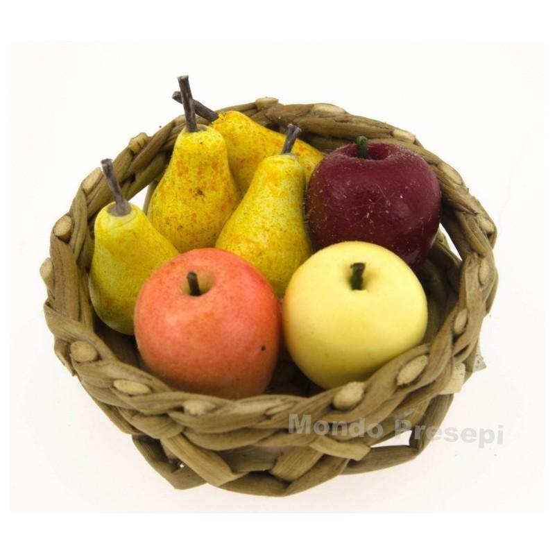Mondo Presepi Cesto in vimini ø 3 cm con frutta
