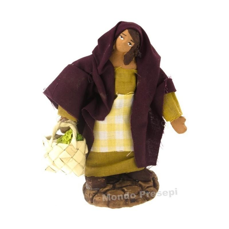 Mondo Presepi Donna con borsa di verdure cm 10