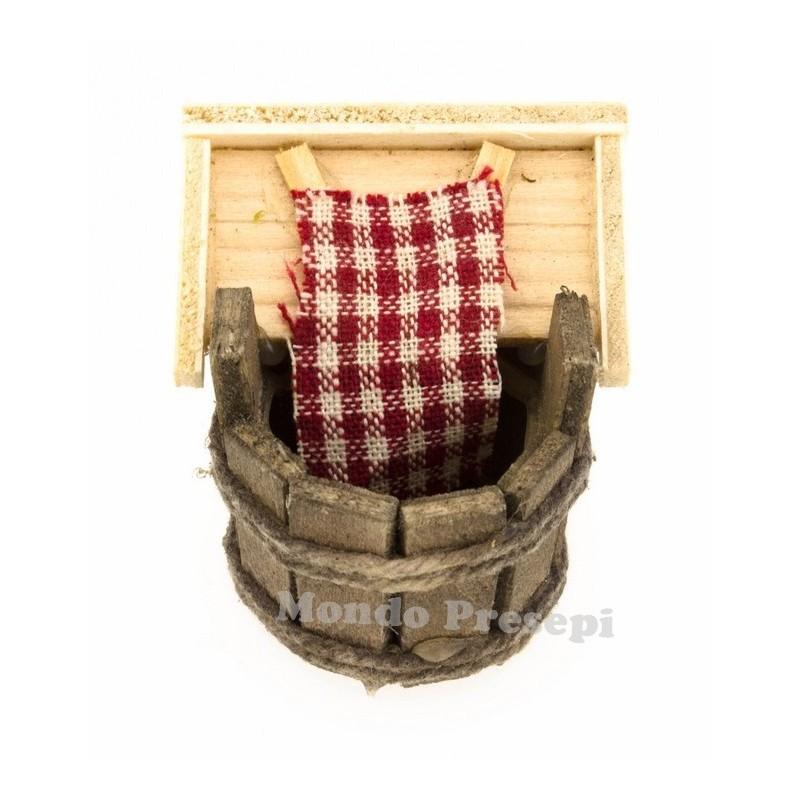 Mondo Presepi Mastello in legno con lavapanni -Accessori per