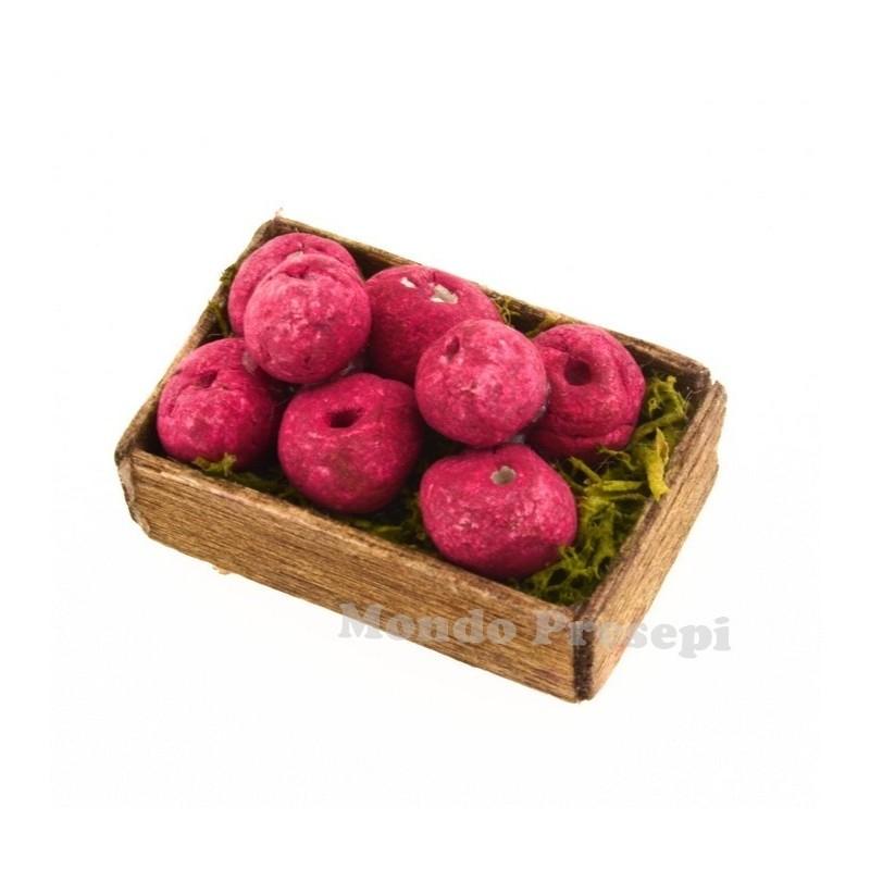 Mondo Presepi Cassetta frutta Mele rosse cm 3x2,5