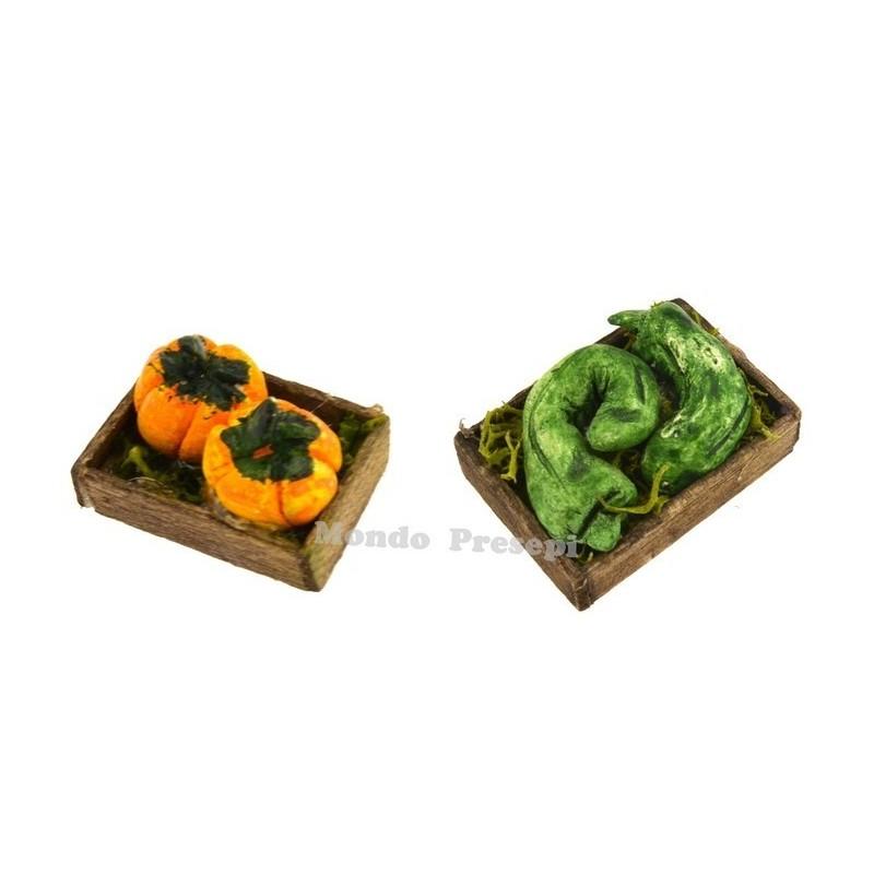 Mondo Presepi Cassetta verdura zucche cm 2,8x2
