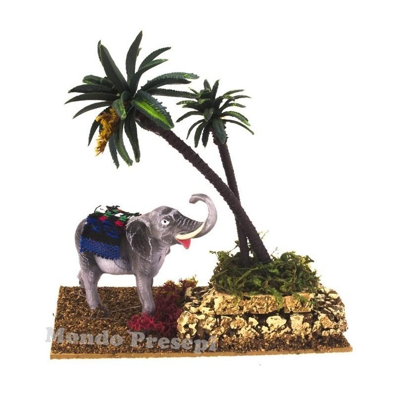 Elephant with palm trees